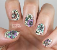 Detailed floral nail art with acrylic paint by Wondrously Polished