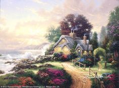 A New Day Dawning by Thomas Kinkade.  There's something peaceful and beautiful about this picture; it looks almost like a scene from the past, when people respected planet earth more.