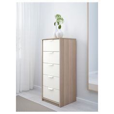 ASKVOLL white stained oak effect, white, Chest of 5 drawers, cm - IKEA Ikea Drawers, Dresser Storage, Ikea Dresser, Bedroom Dressers, Dresser Drawers, Bedroom Storage, Tall Dresser, White Chest Of Drawers, White Chests