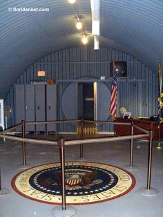 "The President John F. Kennedy Atomic Bomb Shelter & Command Post ""Kennedy Bunker"" - Built in december of 1961 to house President Kennedy in case of nuclear attack while in residence in Palm Beach. (Peanut Island, Florida)"