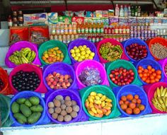 Great bright colors to set off the fruit