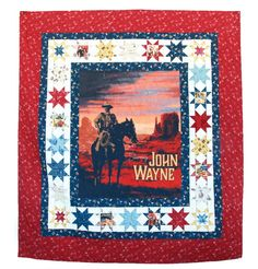 Show off this striking Vintage John Wayne Quilt that's as much an homage to classic movie posters as it is a decorative quilt. Amish Quilt Patterns, Vintage Quilts Patterns, Pineapple Quilt Block, Traditional Quilt Patterns, Quilt Of Valor, Panel Quilts, John Wayne, Quilting Projects, Quilting Ideas
