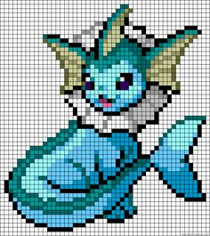 Vaporeon - Pokemon perler bead pattern                                                                                                                                                                                 Plus