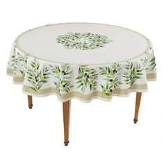 Maussane Ecru Round French Tablecloth