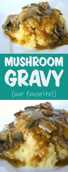 Favorite gravy EVER!! Savory mushroom gravy with onion, oregano, thyme #vegan #gravy #mushroom #holiday