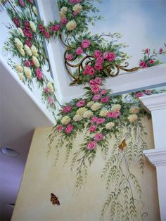Hand painted ceiling and wall Romantic Cottage, Shabby Cottage, Shabby Chic Homes, Shabby Chic Decor, Ceiling Murals, Wall Murals, Wall Art, Bedroom Ceiling, Bedroom Wall