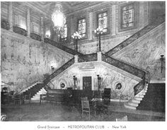 """Daytonian in Manhattan: Stanford White's 1893 """"The Metropolitan Club"""" The grand marble staircase in 1951 -- photo from author's collection"""
