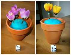 flower & dice math game - especially fun for spring but great any time