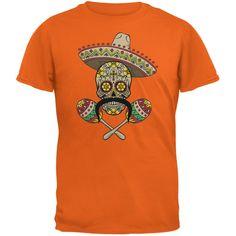 Cinco de Mayo - Sombrero Skull Maracas Crossbones Orange Adult T-Shirt