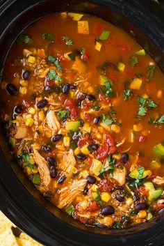 Slow Cooker Chicken Enchilada Quinoa Soup - Cooking Classy