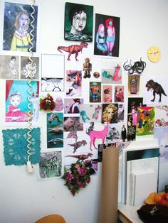 Moodboard and some of my art. This shot is from my first studio at the academy in 2007 -- Sofia Karlström