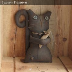 Ollie & George Cat & Mouse Primitive Dolls by Sparrow Primitives, via Flickr