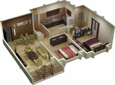 Small House Plans 3D Floor Plan Furniture Layout Ideas