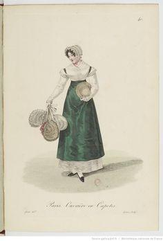 Ouvrière en capotes / Costumes d'ouvrières parisiennes par Gatine (1824) / Bibliothèque Nationale de France
