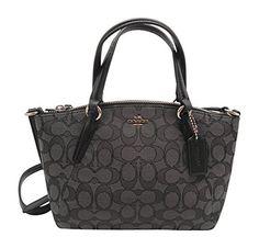 Coach Outline Signature Mini Kelsey Crossbody Satchel Handbag Black Smoke / Black