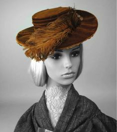 25d531960e5 Hat - Rust velvet hat with pleated crown sides