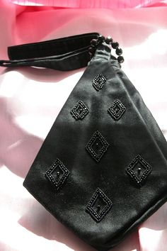 1880 Mourning Handbag w/Glass Beads