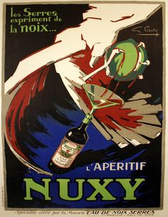 Another stunning aperitif advertisement poster from the 1930s! NUXY was created by famed poster artist Gabrielle Favre. The beverage was made to be consumed by adding sugar or grenadine, and served before dinner with a light starter course. Check it out on our website: http://www.postergroup.com/details.asp?posterid=2630