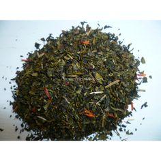 """Sur un magnifique thé vert Chun Mei parfumé à l'ananas.  A découvrir!  Le Chun Mei est un thé vert de grande qualité de la région de Yunnan de Chine.  Aussi bon en goût que pour la santé!  Le Chun Mei est doux, plutôt fleuri avec une légère pointe d'amertume.  Chun Mei signifie """" Sourcil de vieil homme"""" à cause de ses petites feuilles."""