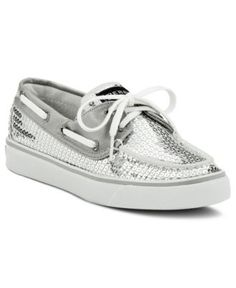 Sperry Top-Sider Women's Shoes, Bahama Boat Shoes - Shoes - Macy's $80.00 Yes I need grandma-ish shiny silver dress shoes; Blanche from Golden Girls would be so jealous :)