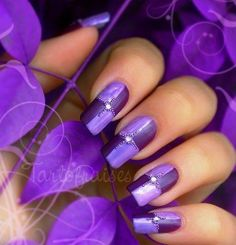 Perfect Purple~ from 27 Nail Art Ideas And Nail Designs Loading. Perfect Purple~ from 27 Nail Art Ideas And Nail Designs Nail Art Violet, Purple Nail Art, Purple Nail Designs, Best Nail Art Designs, Colorful Nails, Fancy Nails, Love Nails, My Nails, Sparkly Nails