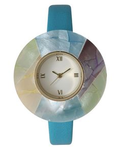 Olivia Pratt | Blue Petite Leather Strap Wodden Bezel Women's Watch