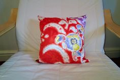Red Hand Painted Silky Feel Cushion - Handmade Vintage Kimono Fabric Pillow by on Etsy Handmade Cushions, Kimono Fabric, Vintage Kimono, Upcycle, Hand Painted, Throw Pillows, Feelings, Trending Outfits, Unique Jewelry