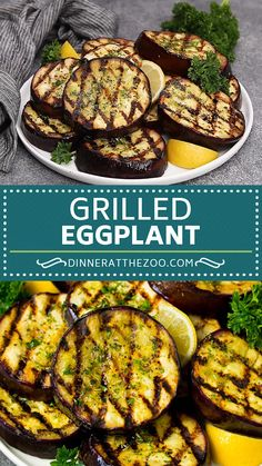 Mar 27 2020 - Grilled eggplant marinated in olive oil garlic and herbs. A quick and easy side dish! Grilled Eggplant Recipes, Grilled Vegetable Recipes, Grilled Veggies, Vegetables To Grill, Grilled Polenta, Grilled Food, Chicken Recipes, Vegetarian Grilling, Vegetarian Recipes