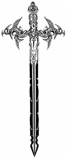 Tribal Sword Tattoo Designs Wings tattoo commission by Celtic Tattoos, Wolf Tattoos, Viking Tattoos, Body Art Tattoos, Tribal Tattoos, Sleeve Tattoos, Chest Tattoo, Back Tattoo, Viking Sword Tattoo
