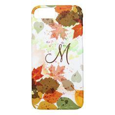 Girly Orange Yellow Green Autumn Leaves Monogram  iPhone 7 Case #iphone7 #iphone7Plus #iphone