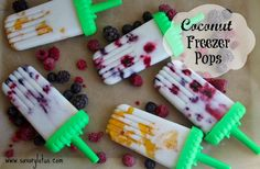 coconut freezer pops.  Made them with pineapple/mango and raspberry/blackberry...super yummy!!  I used stevia with both.