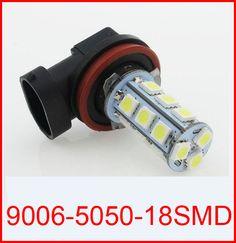 New arrival Free shipping 10pcs/lot 9006(HB1) 18 SMD 5050 Car LED FOG LAMP Light High Beam Light Car Auto / Tail / Head light