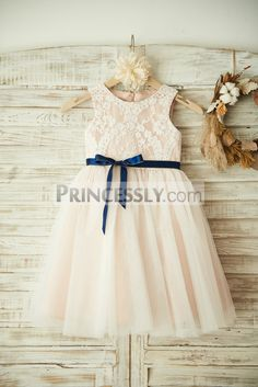 bfb42c4ebd2 Ivory Lace Tulle Pink Lining Wedding Flower Girl Dress with Navy Blue Sash