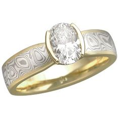 Oval Diamond in Mokume Solitaire Tapered Engagement Ring