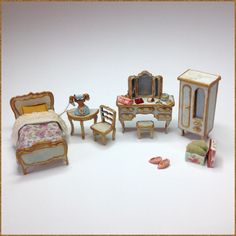 Miniature 1/4 1:48 48th Quarter Shabby Chic French Rococo Style Single Bed Wardrobe Dressing Table Chair Furniture For Dollhouse Bedroom