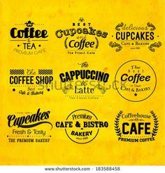 Retro Typography Coffee and Cafe Logo Badge Design - stock vector