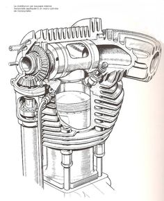 Rotary sleeve valve cylinder head and its bevel drive, cutaway drawing.