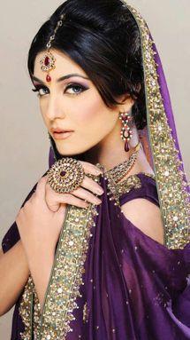 Pakistani model\actress Maya Ali.  Bridal dress, purple