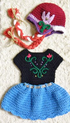 Crochet Disney's Frozen Inspired Anna's Photo by OhSoVeryKnotty - I could MAKE something like this (only for adults) Crochet Trim, Love Crochet, Crochet For Kids, Knit Crochet, Crochet Baby Clothes, Crochet Baby Hats, Crocheted Hats, Crochet Dresses, Crochet Crafts