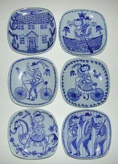 Kari Nyquist for Stavangerflint Blue Dishes, White Dishes, Scandi Home, Stavanger, Modern Ceramics, Color Shapes, Delft, Earthenware, Ceramic Pottery