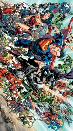 Superman and the DC heroes by Ivan Reis Arte Dc Comics, Dc Comics Superheroes, Dc Comics Characters, Nightwing, Batwoman, Dc Heroes, Comic Book Heroes, Comic Books Art, Comic Art