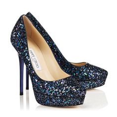 Beautiful midnight blue glitter Jimmy Choos... I want I want I want!!