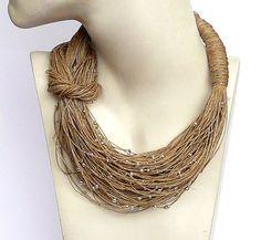 Linen Necklace natural Linen necklace Necklaces jewelry eco