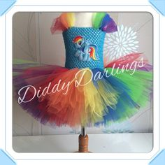 Rainbow Dash Tutu Dress. My Little Pony Tutu Dress. Rainbow Tutu Dress. Princess Tutu Dress. Beautiful & lovingly handmade. Price varies on size, starting from £25. Please message us for more info. Find us on Facebook www.facebook.com/DiddyDarlings1 or our website www.diddydarlings.co.uk