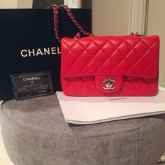 2944c165b376 Chanel mini classic flap bag red lambskin leather New never used inspd  lambskin leather mini with silver hardware. Photos are of actual bag.