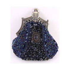 Vintage Beaded Velvet Decorative Purses Victorian Opera Purse found on Polyvore featuring bags, handbags, purses, vintage purse, blue bag, blue purse, velvet bag and vintage bag