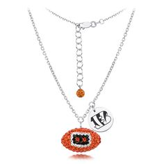 Jewel Tie 925 Sterling Silver with Gold-Toned Texas Tech University Pendant in Football