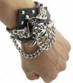 Men Pirate Skull Punk Metal Black Gothic Leather