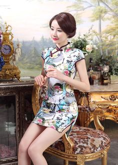 new  chinese style women s silk Evening mini Dress Ball Cheongsam S-XXL