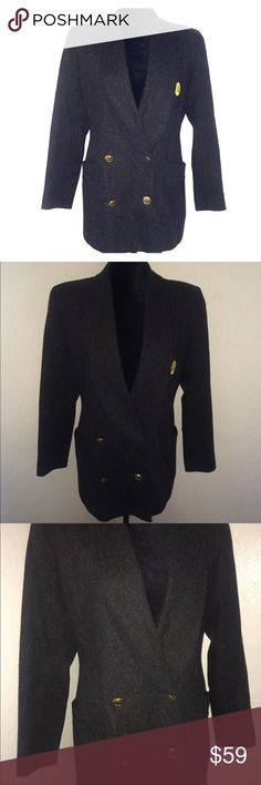 """VTG Christian Dior Women's Grey Wool Jacket Blazer For sale:Vintage Christian Dior Women's Grey Wool Double Breasted Lined Jacket/Blazer. Gold embroidered logo and gold tone designer buttons. Size 6 Fitted. Functional front pockets. No inner fabric tag. Excellent pre-owned condition. *Item Dimensions: Waist: Approximately 19"""" Pit to Pit: Approximately 34"""" Length: Approximately 30"""" *All measurements were taken by """"flat lay"""" Interested?Like, share, bundle, buy! Christian Dior Jackets…"""